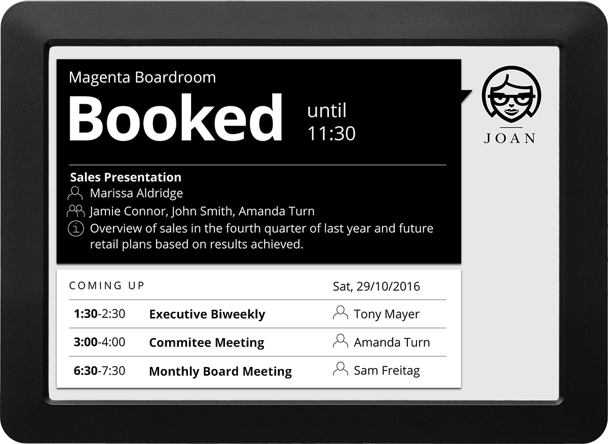 JOAN 9.7 Limited Edition room booking solution