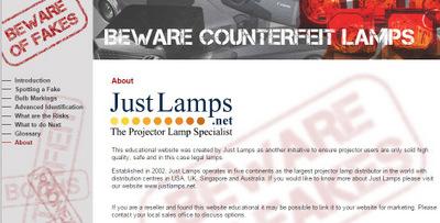 Just Lamps website